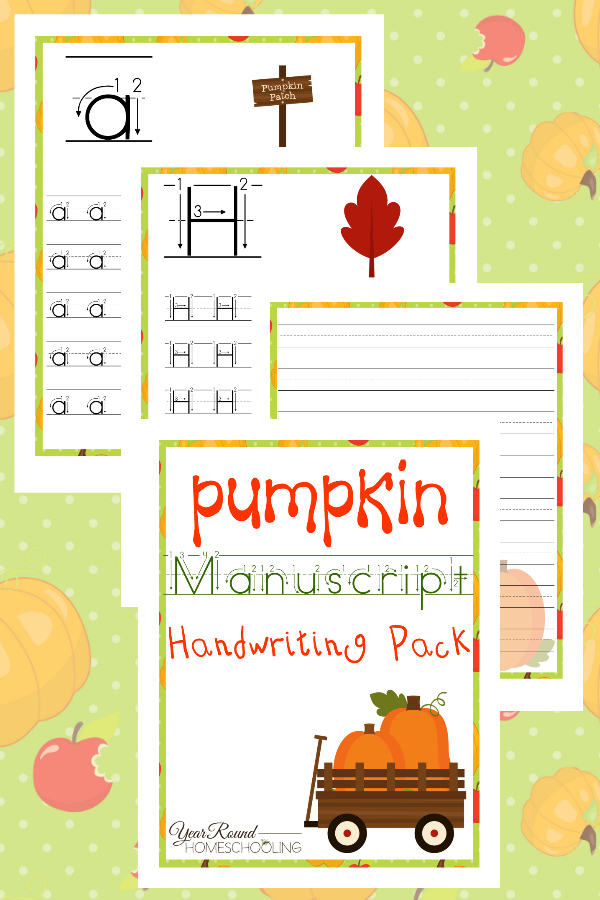 Bring some fall fun to your handwriting practice this year with this printable Pumpkin Manuscript Handwriting Pack! :: www.thriftyhomeschoolers.com
