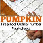 Preschool Pumpkin Themed Ordinal Numbers Worksheets