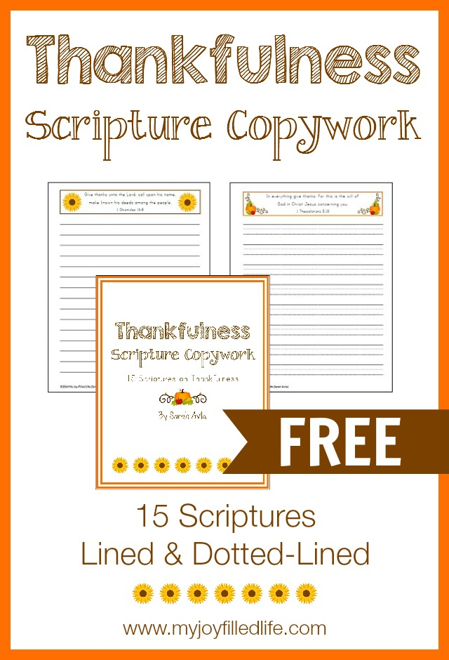 Thanksgiving is a time to reflect on all we're thankful for in our lives. These Thankfulness Scripture Copywork is a great tool to help kids learn to be thankful. :: www.thriftyhomeschoolers.com