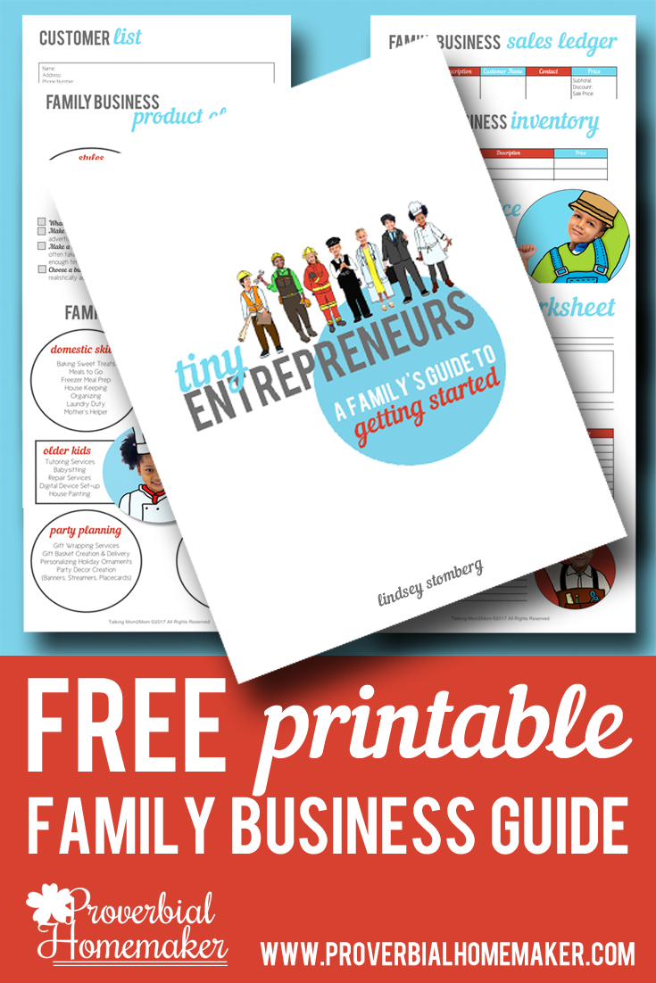 Start your own family business with the kids using this FREE Tiny Entrepreneurs Family Business Guide! :: www.thriftyhomeschoolers.com