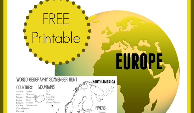 FREE World Geography Scavenger Hunt Printables: Europe