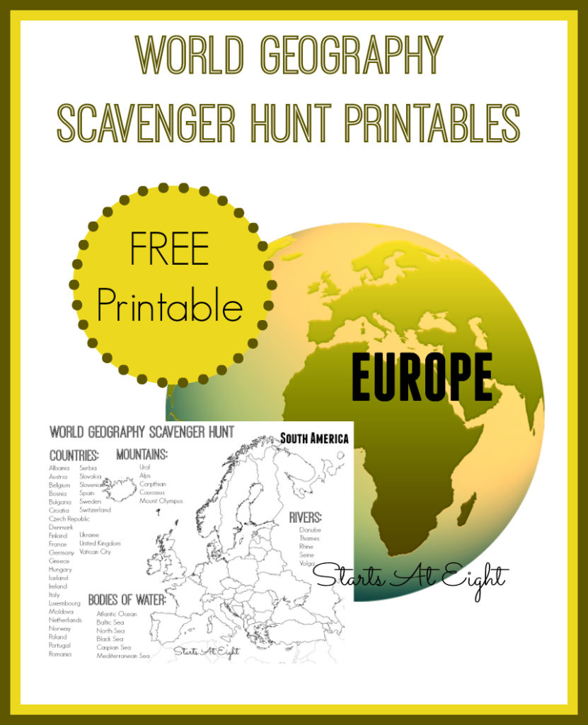 Invite kids to learn more about Europe with this fun World Geography Scavenger Hunt printable. :: www.thriftyhomeschoolers.com