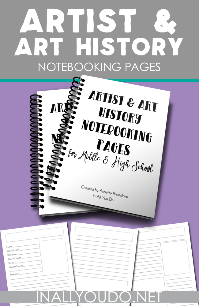 These Art & Art History Notebooking pages from In All You Do are a great way to help them remember what they've learned! :: www.thriftyhomeschoolers.com