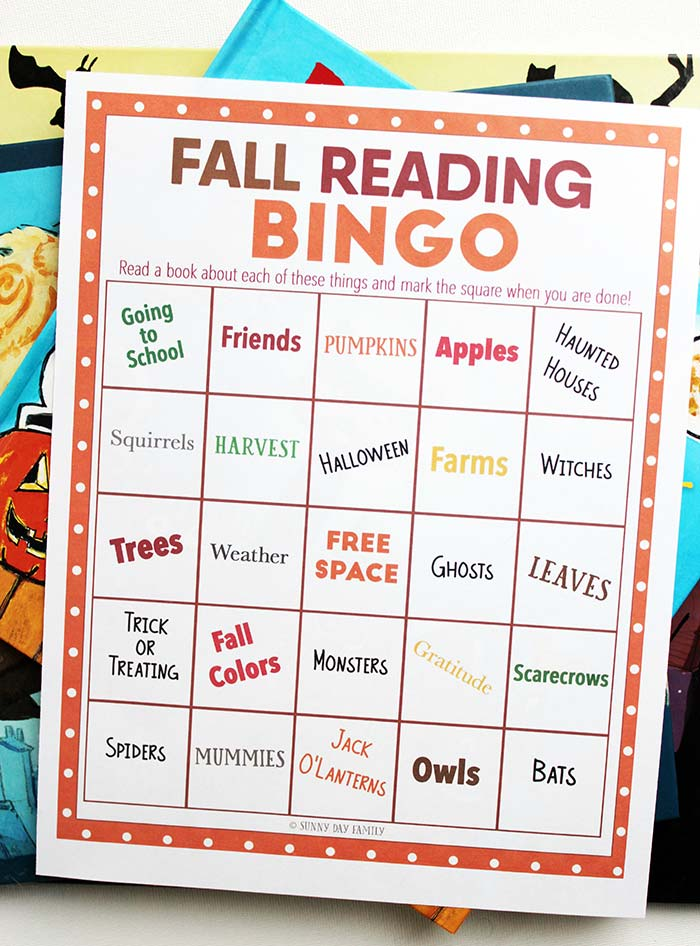 photo about Fall Bingo Printable identify Tumble Reading through BINGO - Thrifty Homeschoolers