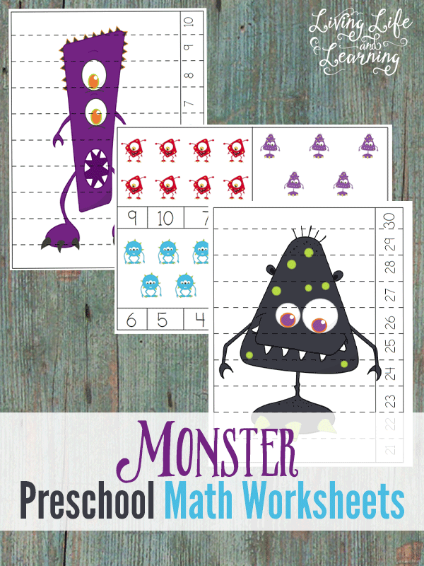 Little ones will love working on their counting skills with these adorable Monster Preschool Math Worksheets! :: www.thriftyhomeschoolers.com