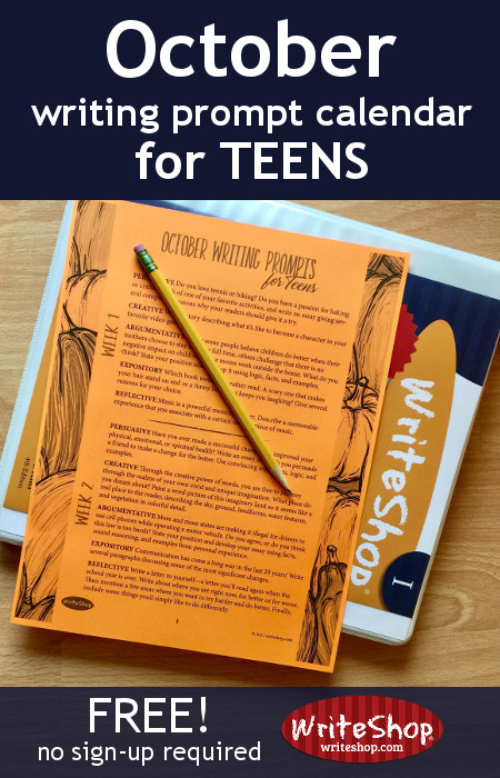 These FREE October Writing Prompts for Teens are the perfect way to get their creativity going! :: www.thriftyhomeschoolers.com