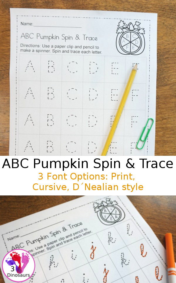 Little ones will love playing this ABC Pumpkin Spin & Trace game while they practice their handwriting! :: www.thriftyhomeschoolers.com
