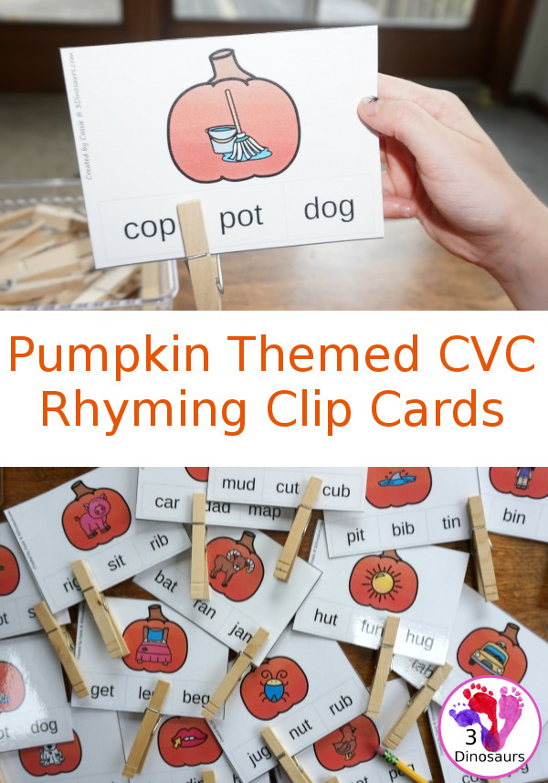 Whether your child struggles with rhyming or you're just introducing it, these Pumpkin Themed CVC Rhyming Clip Cards are a must this Fall season. :: www.thriftyhomeschoolers.com