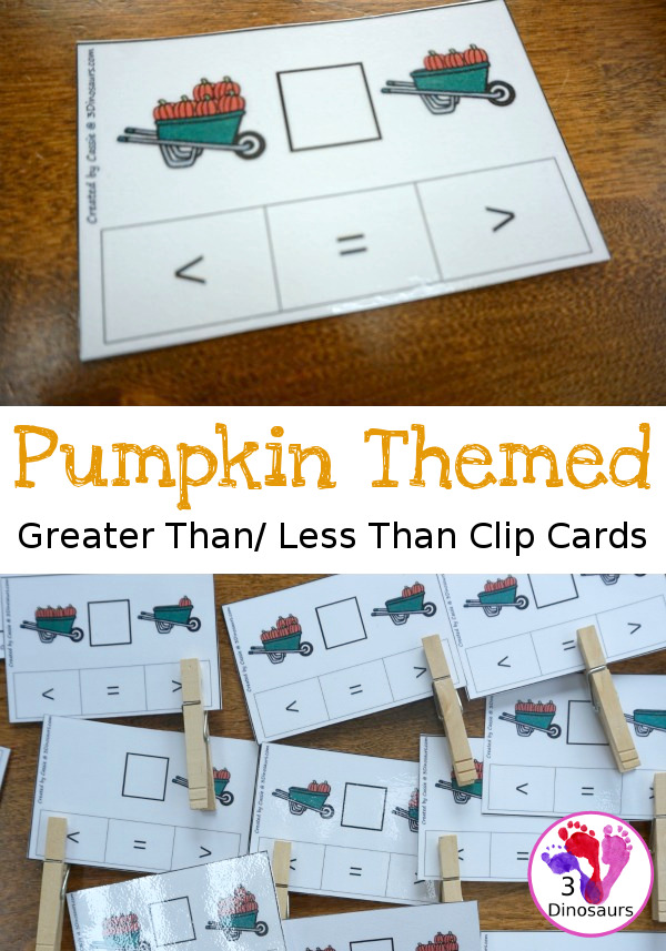 Make learning greater than-less than more fun with these pumpkin themed clip cards! :: www.thriftyhomeschoolers.com