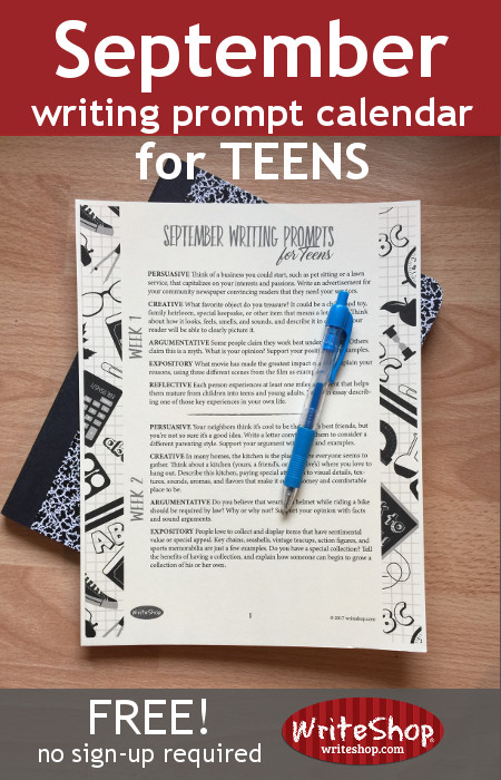 Does your teen need extra practice on their creative writing skills? Grab these September Writing Prompts for Teens. :: www.thriftyhomeschoolers.com
