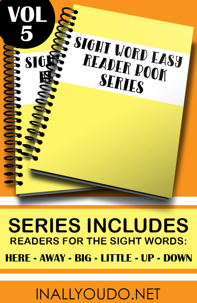 """Kids will love these Sight Word Easy Readers as they continue to work on their sight word and reading skills. Volume 5 includes books for the words """"here, away, big, little, down and up"""". :: www.thriftyhomeschoolers.com"""