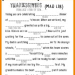 Thanksgiving Themed Mad Libs