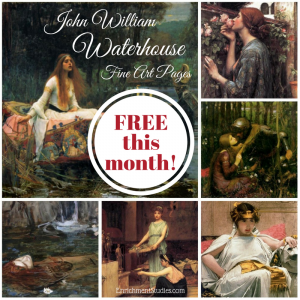 This month you can get a collection of Fine Art Pages featuring the works of John William Waterhouse for FREE at Enrichment Studies! :: www.thriftyhomeschoolers.com