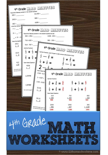 Help your 4th grader catch-up, get ahead or just keep up their skills with these printable math worksheets. :: www.thriftyhomeschoolers.com