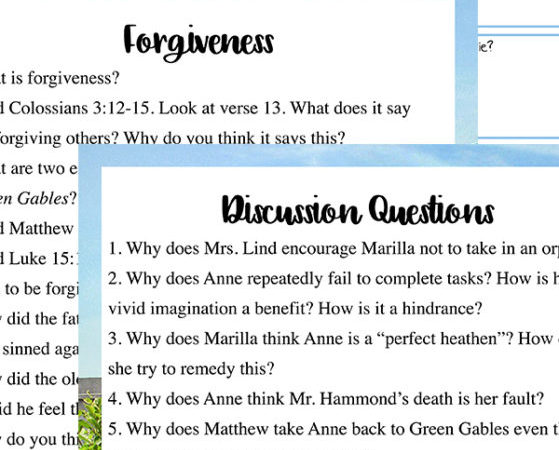 Anne Of Green Gables Movie Unit Study