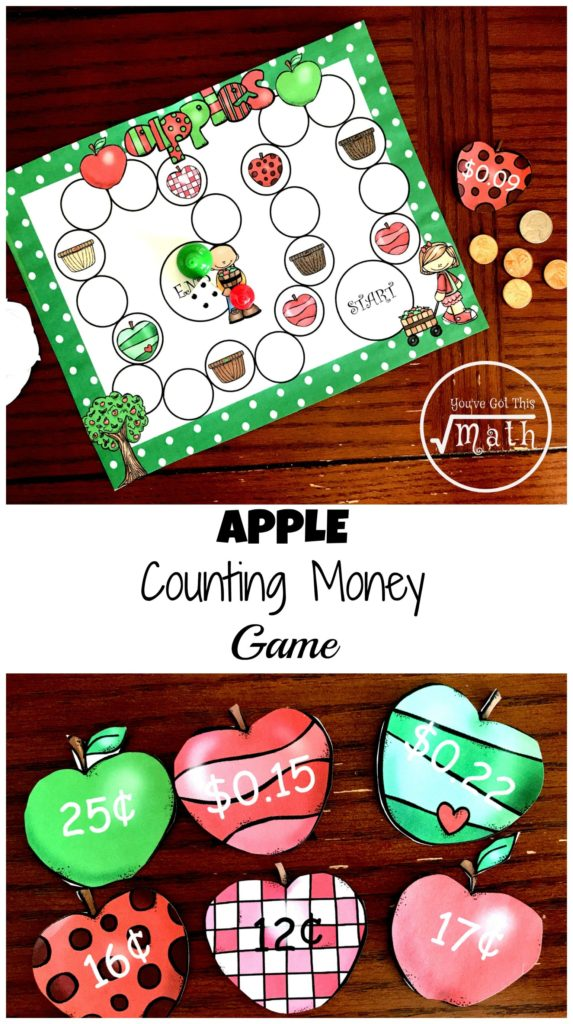 Working on counting money? Make it fun with this free apple themed game! :: www.thriftyhomeschoolers.com