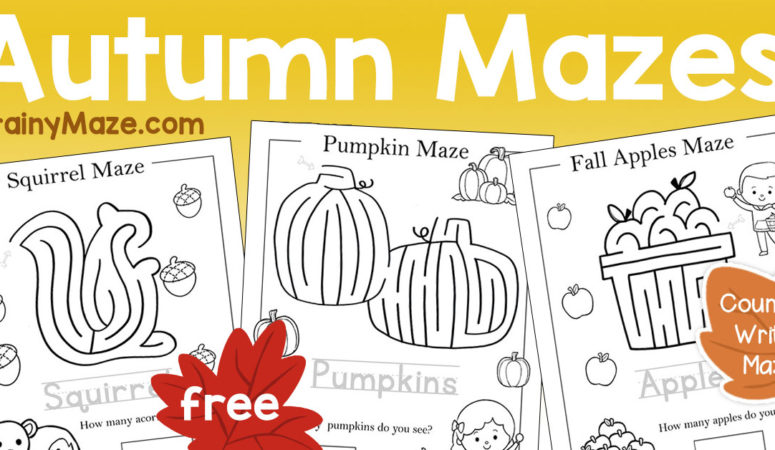 Free Fall Mazes for Preschoolers