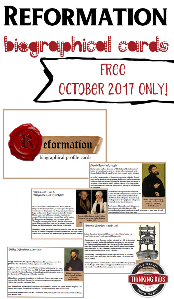 Learn more about the different people involved in the Reformation with these FREE Biographical Profile Cards. :: www.thriftyhomeschoolers.com