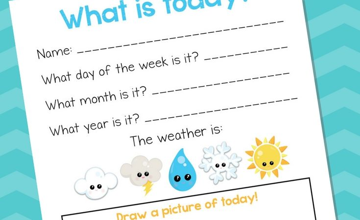 Free What is Today? PreK-K Printable