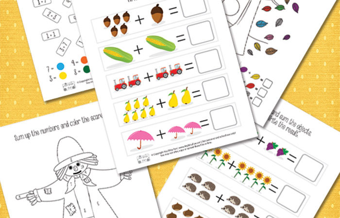 Free Fall Addition Worksheets (1-10)