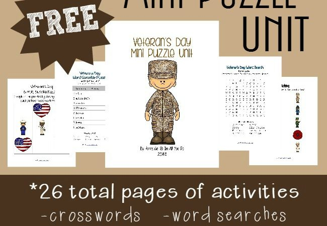Free Veterans Day Puzzles & Activity Pack