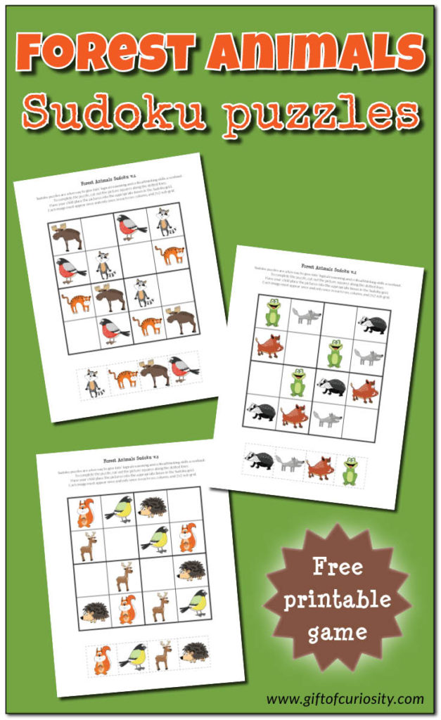 Whether you're studying Forest Animals or just love Sudoku, don't miss these fun printables! :: www.thriftyhomeschoolers.com