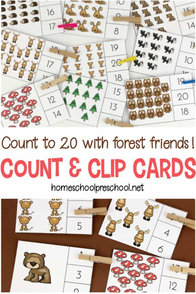 These Forest Friends Count & Clip Cards are perfect for little ones learning and/or reviewing their numbers! :: www.thriftyhomeschoolers.com