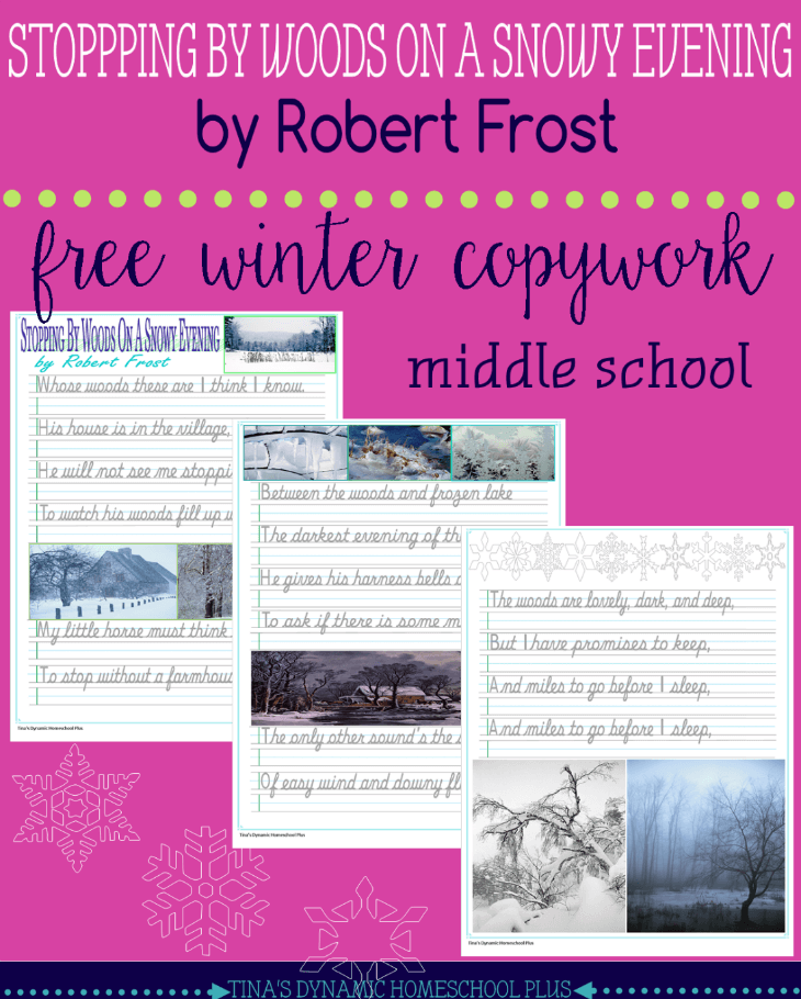 This free winter copywork of a beautiful Robert Frost poem is great practice for middle school. :: www.thriftyhomeschoolers.com