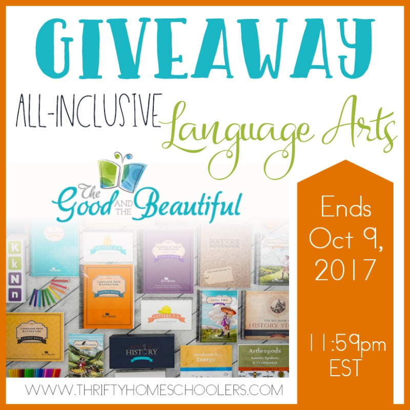 Be sure to enter for your chance to win one of TWO All-Inclusive Language Arts levels from The Good and the Beautiful! :: www.thriftyhomeschoolers.com