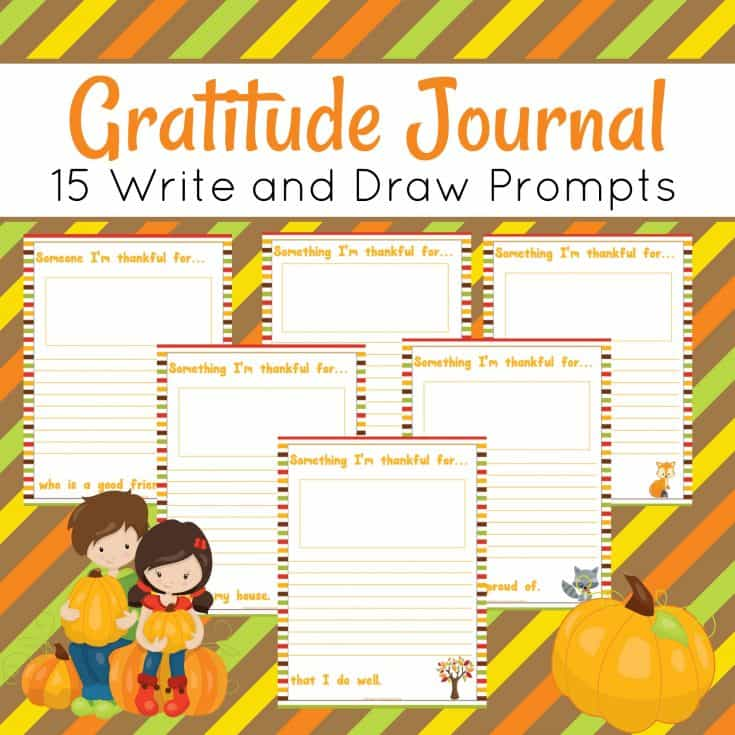 Now your little ones can have their Gratitude Journal with these free write & draw prompts! :: www.thriftyhomeschoolers.com