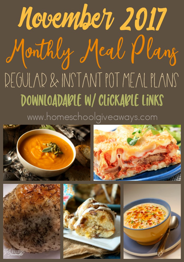Take the stress out of dinner this month with these free meal plans! Includes regular meals, salads and instant pot meals. :: www.thriftyhomeschoolers.com