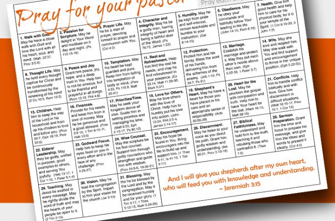 Praying for Your Pastor Calendar