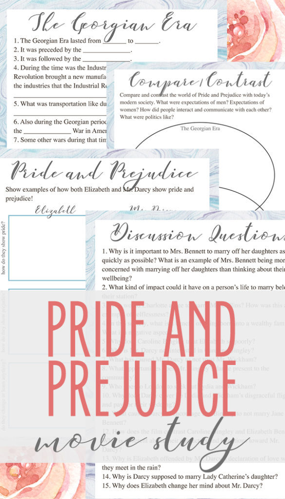 Are you watching the movie Pride and Prejudice in your homeschool this year? If so, be sure to grab this free printable Pride and Prejudice movie study to accompany your child's viewing. It contains discussion questions, comprehension questions, character analysis and more! :: www.thriftyhomeschoolers.com