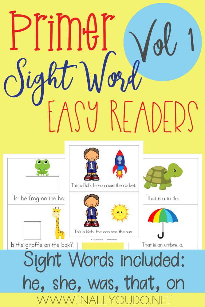 This first volume in the Primer Sight Word Easy Readers set covers 5 words - he, she, was, that and on. :: www.thriftyhomeschoolers.com