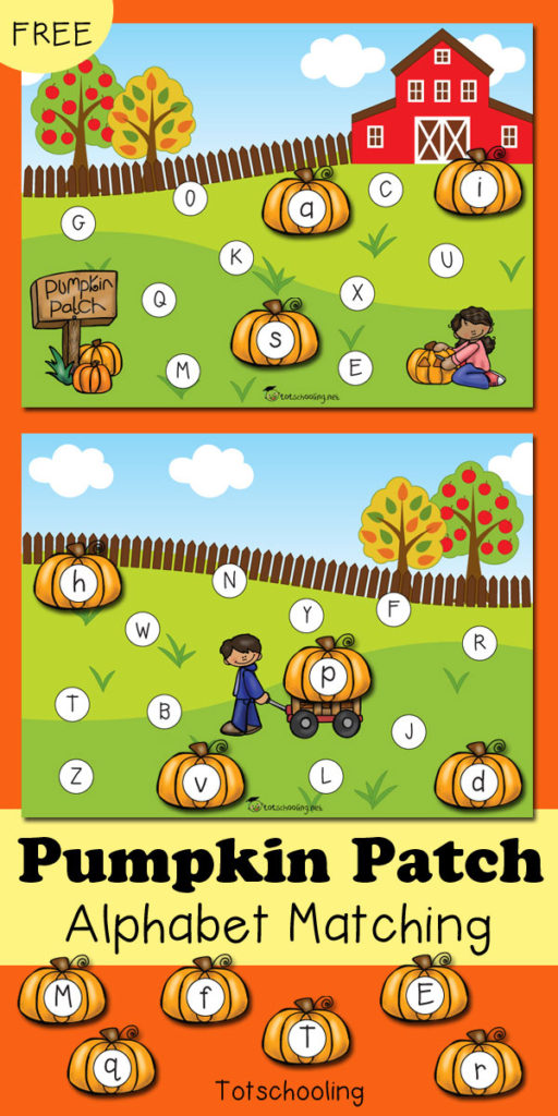 These adorable Pumpkin Patch Alphabet Matching pages are perfect for Fall! :: www.thriftyhomeschoolers.com