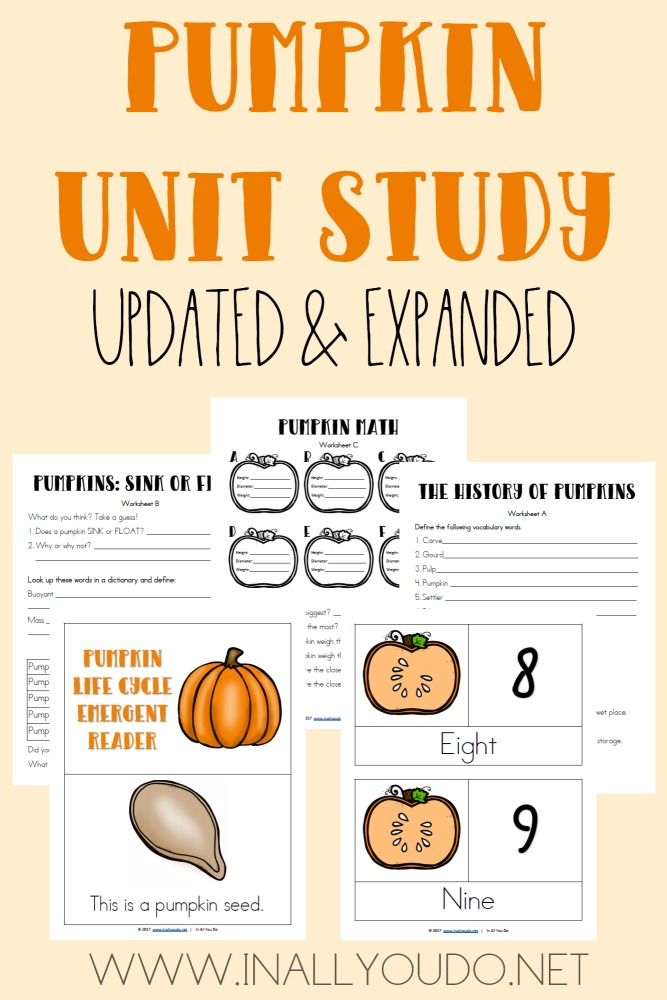 This Pumpkin Unit Study includes Language Arts, Science, Math, Geography and much more! Hurry...its only FREE thru 10.13.17! :: www.thriftyhomeschoolers.com