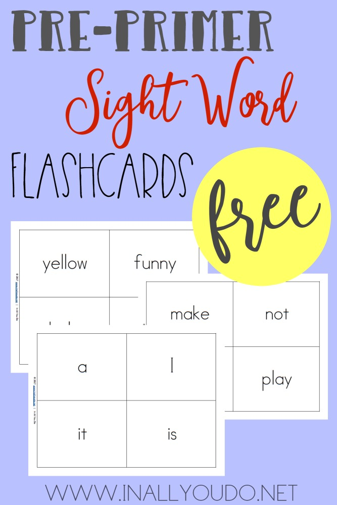Help little ones work on their pre-primer sight words with these FREE printable flashcards! :: www.thriftyhomeschoolers.com