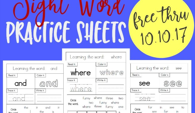 LIMITED TIME FREEBIE: Pre-Primer Sight Words Practice Sheets