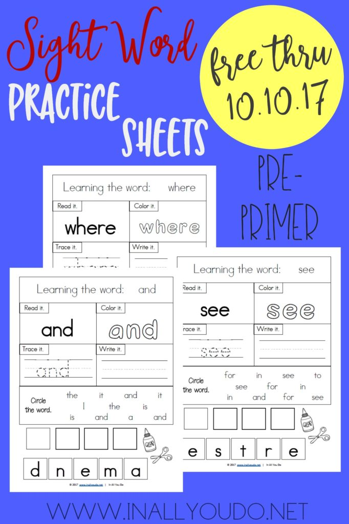 Don't miss this LIMITED TIME FREEBIE for Pre-Primer Sight Word Worksheets. This set includes 40 worksheets. :: www.thriftyhomeschoolers.com