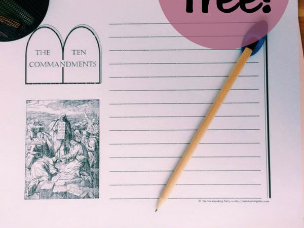 Free Ten Commandment Notebooking Pages