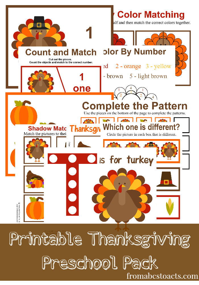 I cannot wait to use these Thanksgiving Preschool printables with the little ones this year! How cute are they?! :: www.thriftyhomeschoolers.com