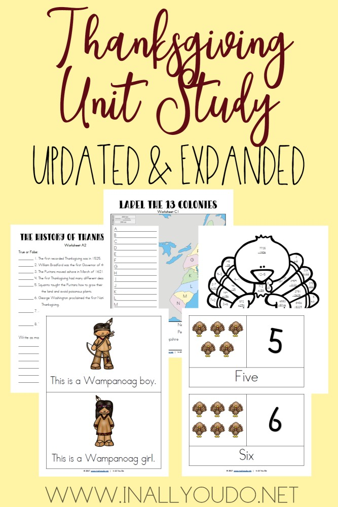Kids can learn about the history of Thanksgiving with this unit study. It is FREE thru Friday, Oct 27 at 11:59pm EST! :: www.thriftyhomeschoolers.com