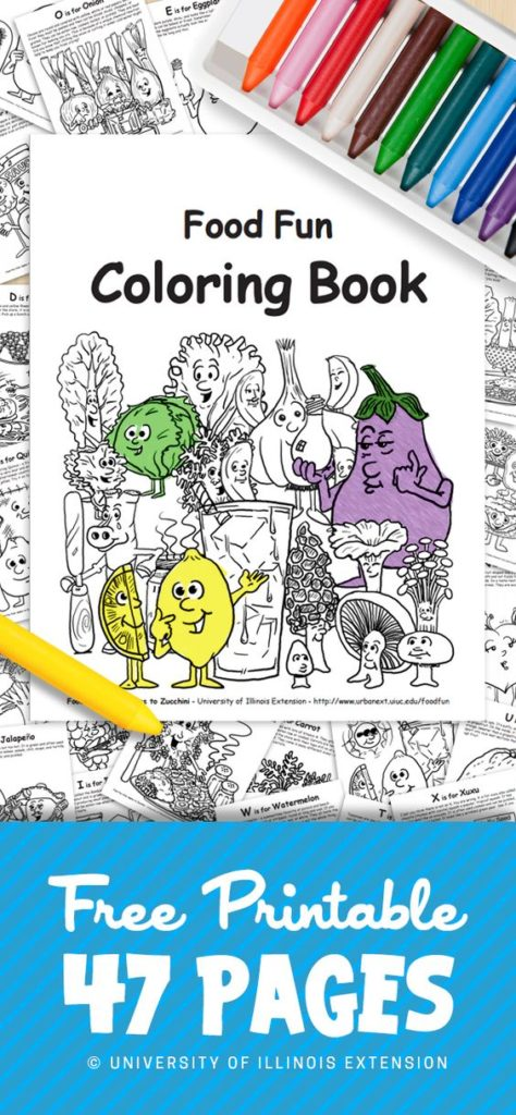 This FREE printable coloring book includes 47 pages for kids to learn about foods that are healthy for them! :: www.thriftyhomeschoolers.com