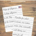 Tour of the USA – Printable Flag with Pledge of Allegiance Cursive Page