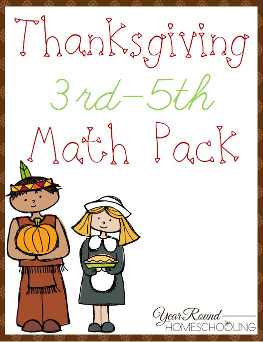Give your upper elementary students some fun math activities with your Thanksgiving studies using this free pack! :: www.thriftyhomeschoolers.com
