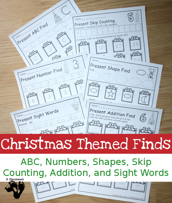These printable Christmas Themed Finds are perfect no-prep activities for little ones this holiday season! :: www.thriftyhomeschoolers.com