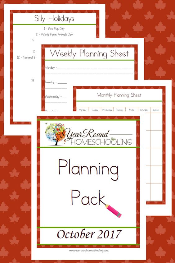 Plan out your homeschool by the month or week with this Free October Planning Pack. It also includes Silly Holidays to add some fun to your homeschool! :: www.thriftyhomeschoolers.com