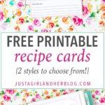 Printable Recipe Cards {Freebie}