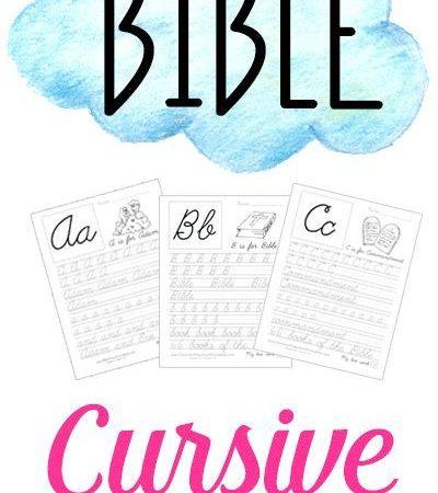 Free Bible Themed Cursive Handwriting Practice Sheets