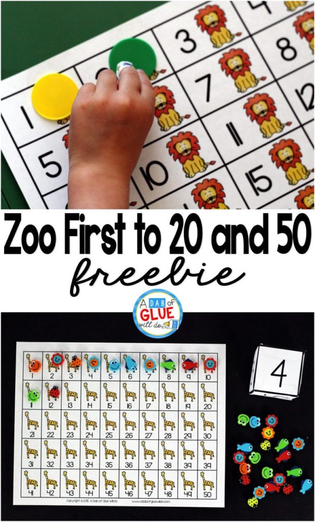 Taking a trip to the zoo? Grab this fun First to 20 and 50 printable pack to add in a little learning when you get back! :: www.thriftyhomeschoolers.com